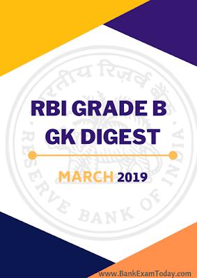 RBI Grade B GK Digest March 2019
