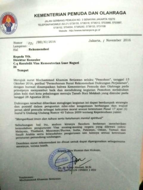 Dokumen Perjalanan Pekalongan - Makkah Diragukan Netizen, Ternyata Khamim Bawa 2 Surat Sakti Ini