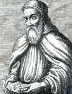 Dibujo de Américo Vespucio en la vejez