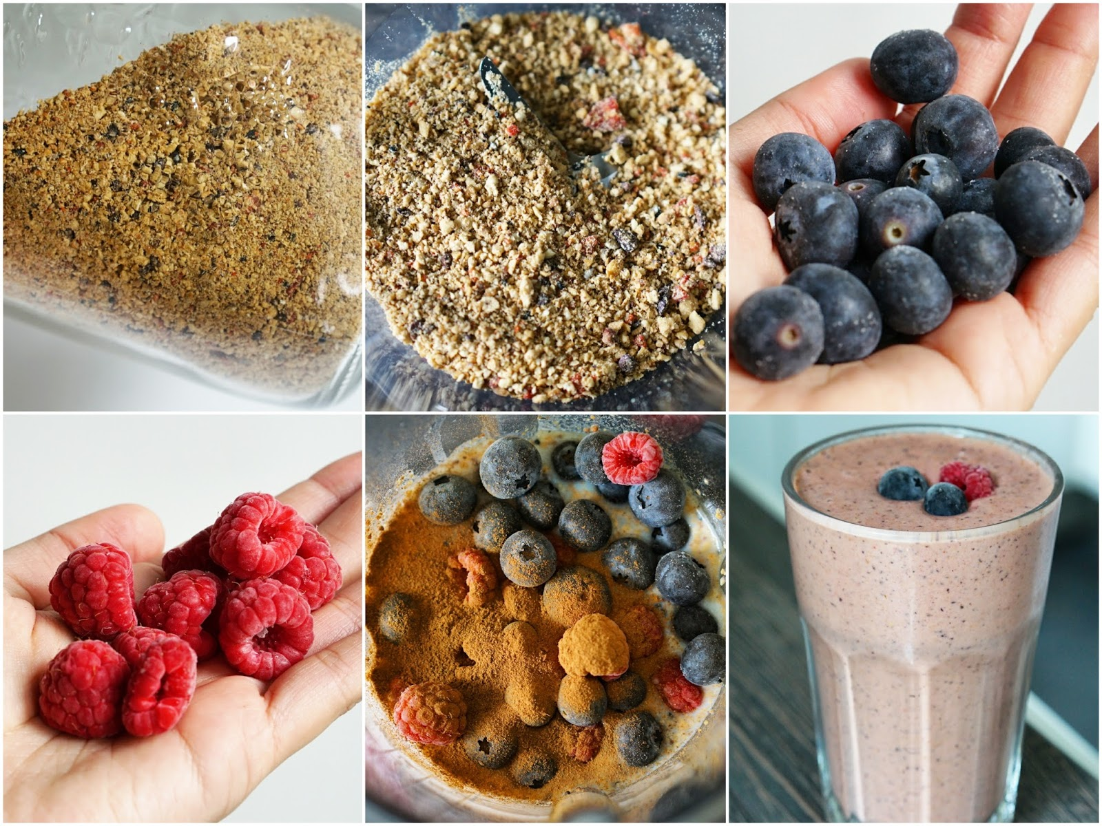 image collage of the different stages of following Jamie Oliver's granola dust breakfast recipe and making it into a smoothie