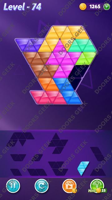Block! Triangle Puzzle 10 Mania Level 74 Solution, Cheats, Walkthrough for Android, iPhone, iPad and iPod