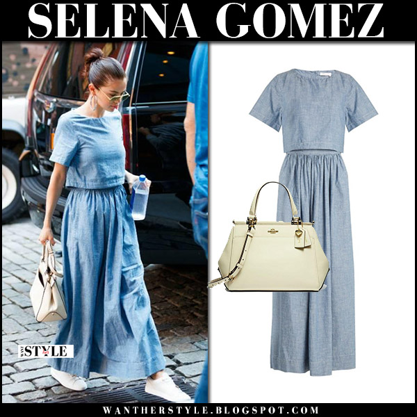 Selena Gomez in blue chambray maxi dress chloe september 24 2017 street fall fashion