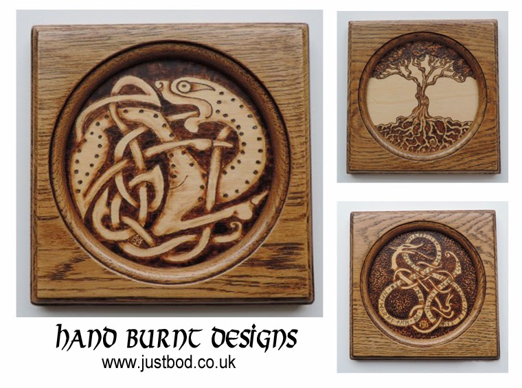 Hand burnt celtic, viking and anglo saxon designs