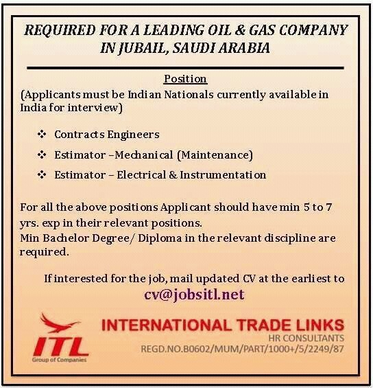 Oil & Gas Jobs in Saudi Arabia | Contract Engineer | Mechanical Estimator | E& I Estimator | ITL Mumbai