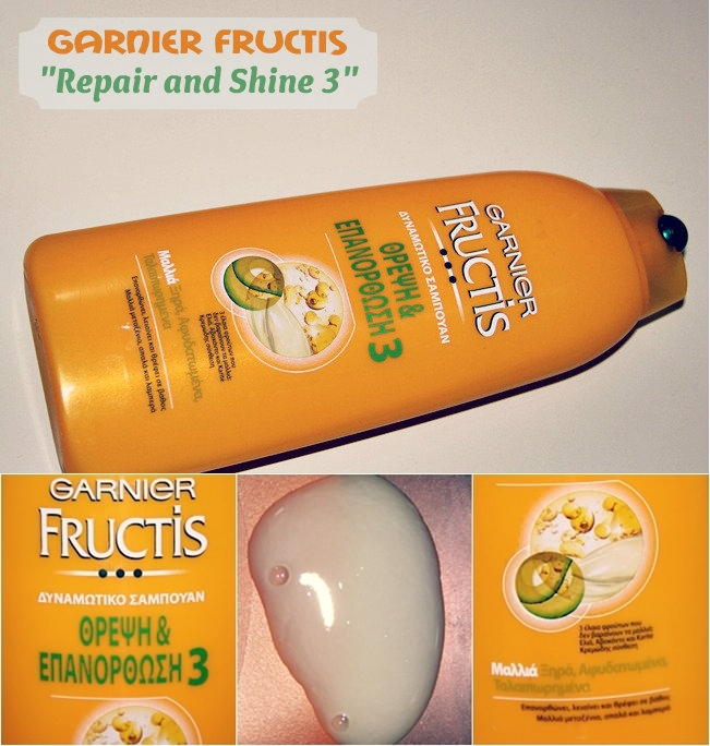 Garnier Fructis shampoo Repair and Shine 3 for tired and dehydrated hair