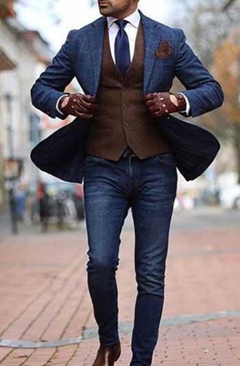 Pantolon Ceket Kombinleri Kareli Lacivert Blazer Jean
