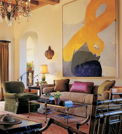 Interior Painted Rooms Design: Interior Decoration With Abstract Art