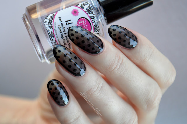 sheer tint jelly black dotticure border nail art