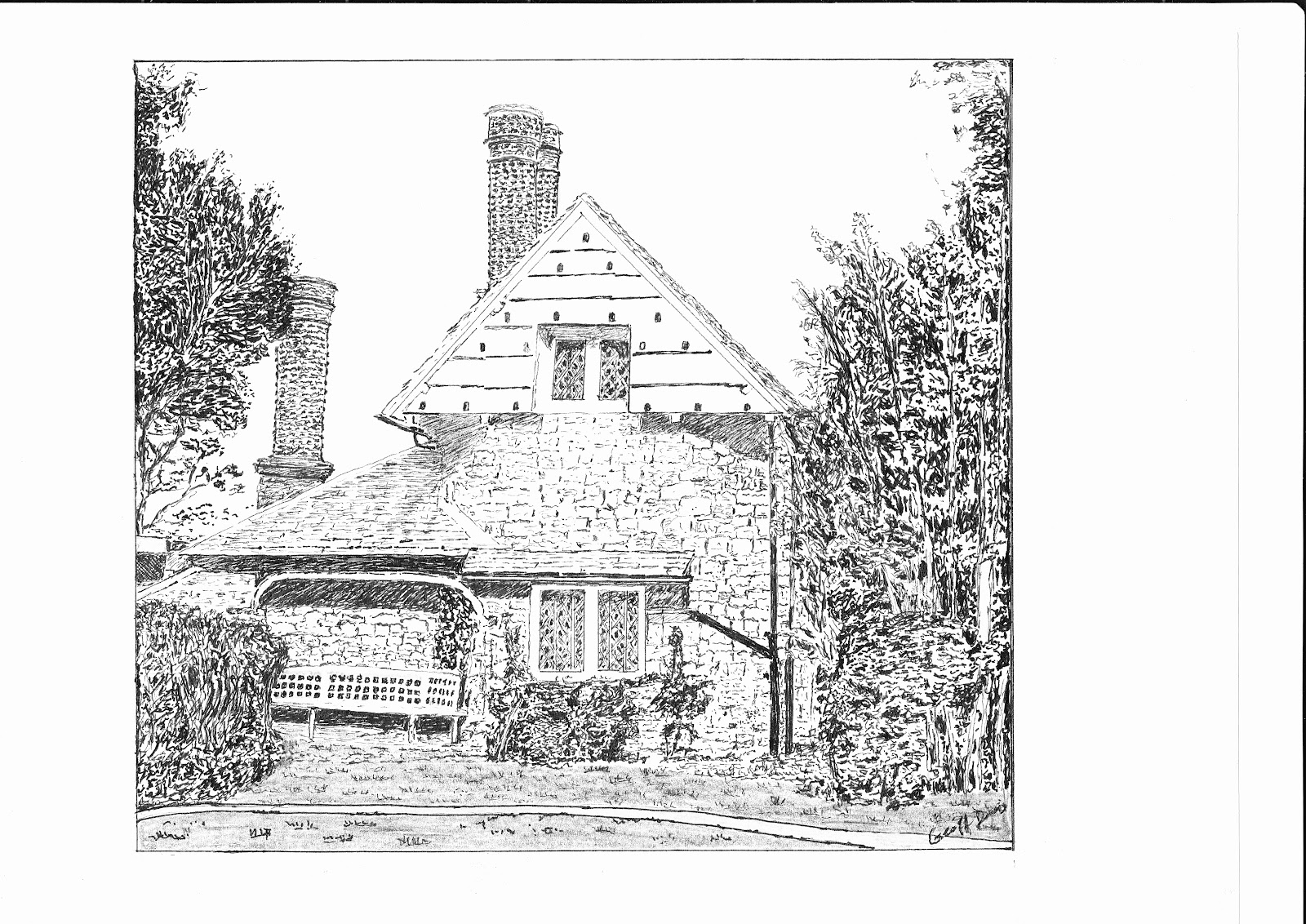 Above Line Drawing Of A Cottage In Blaise Hamlet Below Maria And Rita I At On Return Visit To Bristol Year Ago