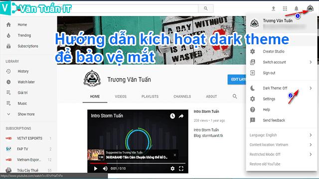 Hướng Dẫn Kích Hoạt Dark Theme Youtube Để Bảo Vệ Mắt