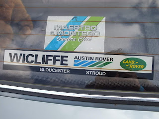 Wicliffe, AustinRover rear window sticker