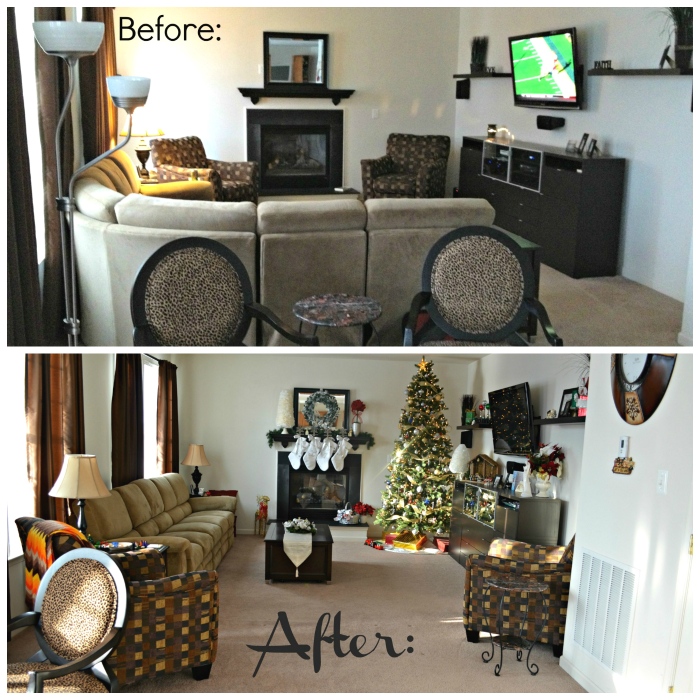 Living Room Arrangement Before and After