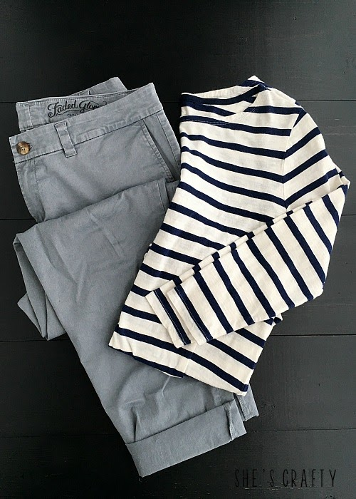How to style clothes for moms with Pinterest - gray pants and striped shirt