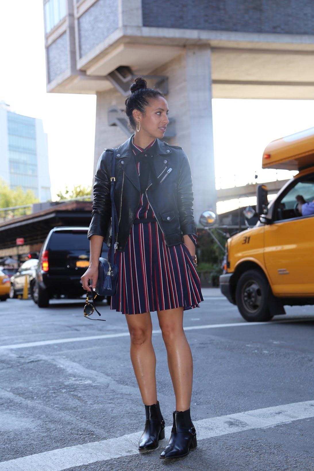 NYFW, NYC, all stripes, Banana Republic, It's Banana, stripes, Fall fashion, fall outfit, Gigi New york, hoop earrings, Frye harness boots, Frye Dara Harness Chelsea boot