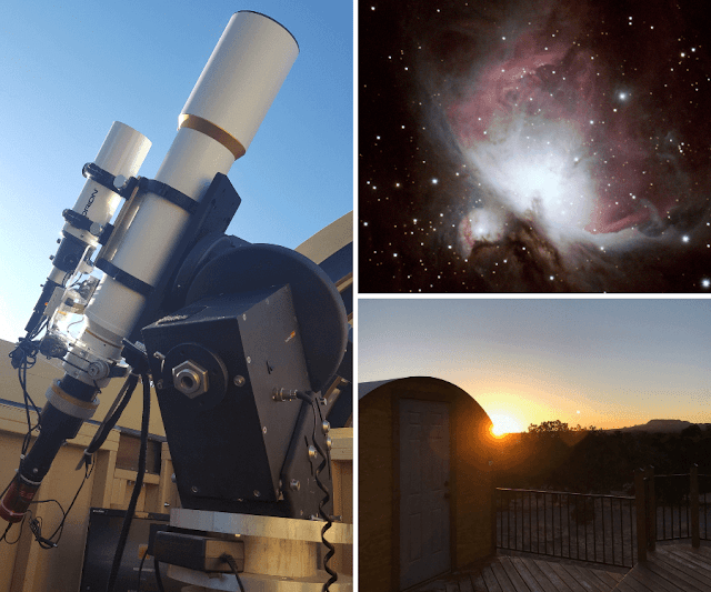 "ATEO-2: 5"" Refractor Imaging Telescope with its image acquired of M42, The Orion Nebula  and its Observatory Omega at Sunrise."