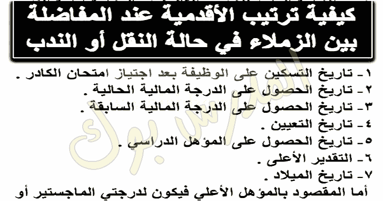 شروط وضوابط الأقدمية بين المعلمين طبقا للقرار الوزاري رقم 202 والقانون 155 لسنة 2007