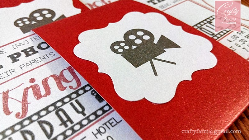 Hollywood Movie Ticket Themed Wedding Card with Belly Band