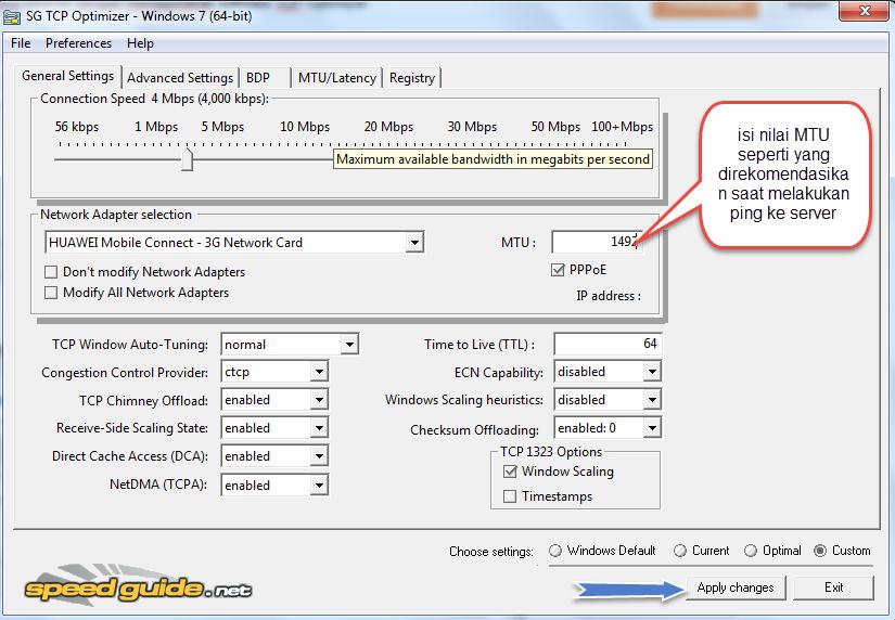 mempercepat koneksi internet dengan tcp optimizer