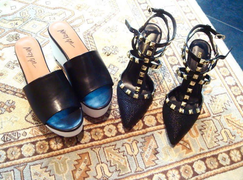 Black flatforms and black rockstud shoes.
