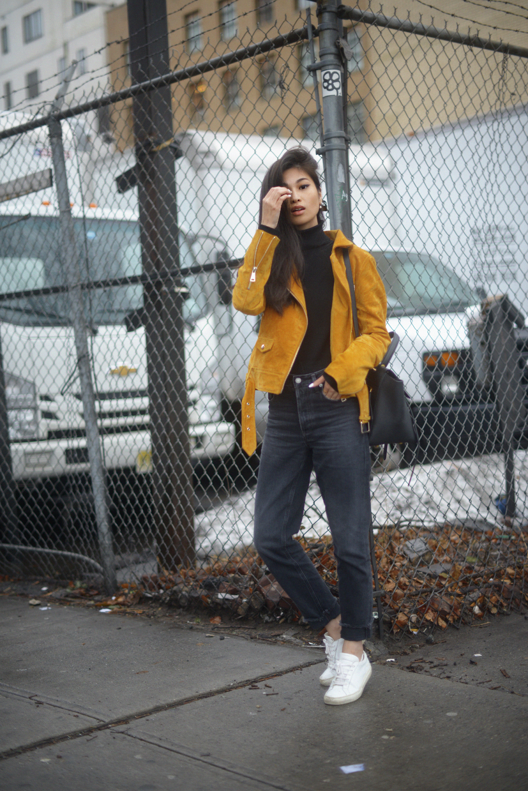 H&M Suede Moto Yellow Jacket and GRLFRND Denim / FOREVERVANNY.com