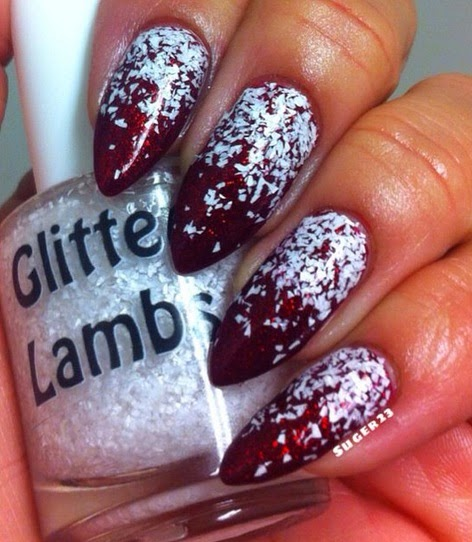 Christmas custom handmade indie lacquer. Christmas nails. White glitter over red nails.
