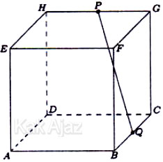 Kubus ABCD.EFGH dengan P dan Q berturut-turut adalah titik tengah HG dan BC, soal matematika dasar TKPA SBMPTN 2017 kode naskah 226 no. 55
