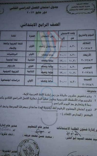 جدول امتحانات الصف الرابع الابتدائي الترم الثاني 2017 محافظة الشرقية