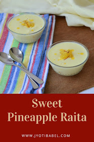 Sweet Pineapple Raita makes for a great accompaniment to any meal. Mildly sweetened yoghurt flavoured with cardamom, saffron with tiny chunks of sweetened canned pineapple, this sweet pineapple raita is a treat in itself. Recipe at www.jyotibabel.com