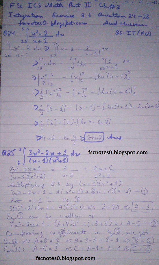FSc ICS Notes Math Part 2 Chapter 3 Integration Exercise 3.6 question 24 - 28 by Asad Hussain