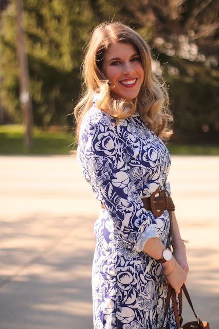 blue floral shirtdress, pink heels, woven belt, Tory Burch tote, spring dress