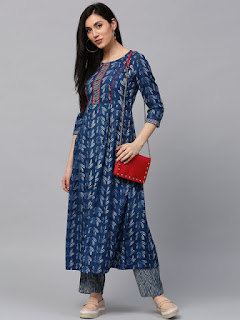 Jaipur Kurti Women Blue Printed Kurta with Palazzos