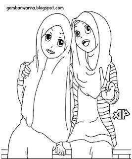 Mewarnai Wanita Berhijab Download Gambar Muslimah