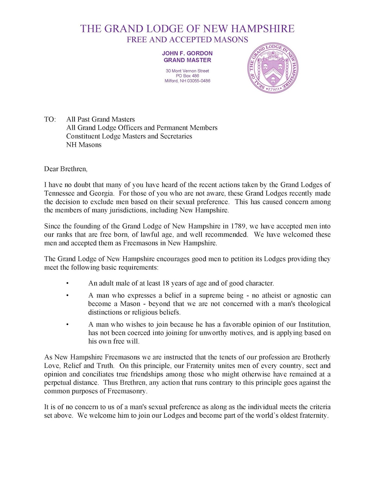 The Gm Of The Grand Lodge Of New Hampshire Issued A Statement On The Issue  On Howto