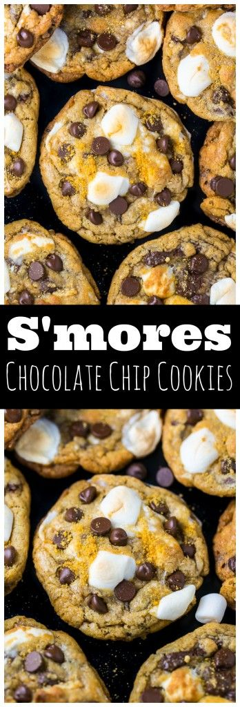 S'mores Chocolate Chip Cookies #chocolate #chocolatecookies #cookies #cookiesrecipes #chocolatechip #chocolatechip