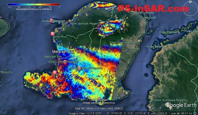 Pergerakan Tanah di Pulau Lombok Paska Gempa yang diolah dengan Software Sarproz