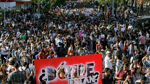 12,000 request justice for murdered Mexican students