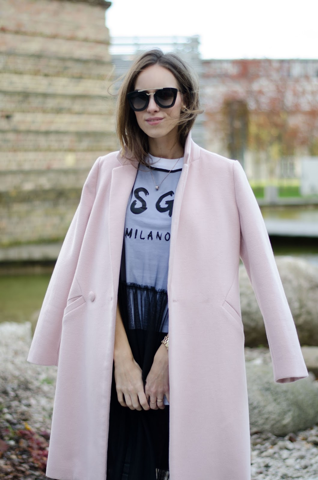 sheer mesh dress tshirt pink coat