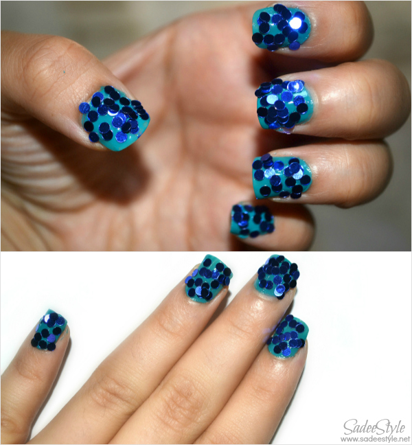 Nail Art Circle Glitters Teal and blue look