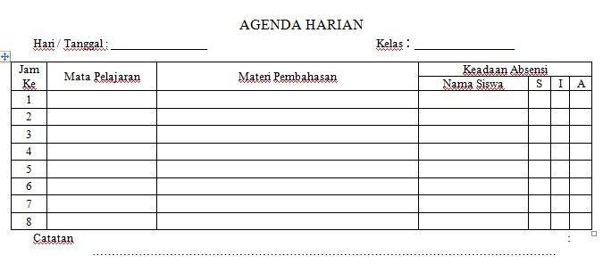 Contoh Format Agenda Harian Kelas Semua Jenjang Sekolah Tahun Ajaran 2016-2017 Format Microsoft Word