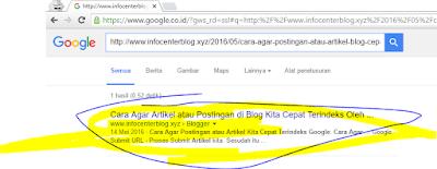 Artikel langsung terindeks oleh Google seperti kilat sangat cepat :v :v