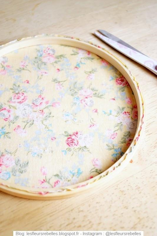 Découpe tissu sur tambour à broder