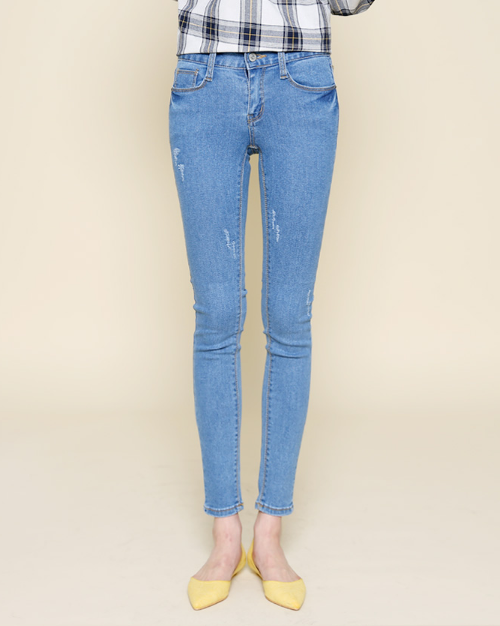Rip-Accented Slim Denim Jeans