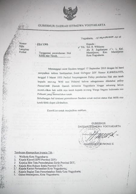 Gambar Surat Gub ke R Wibisono - Di Yogyakarta Non-Pribumi Dilarang Memiliki Hak atas Tanah, Mau Bilang Sri Sultan Rasis?