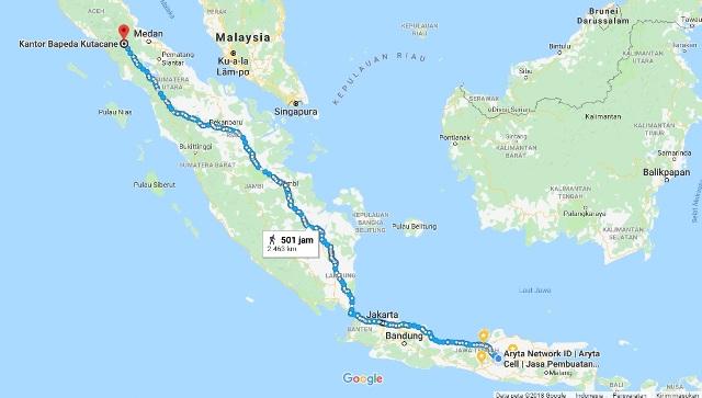 Peta Perjalanan Ke Ujung Sumatera Dilihat di GMaps