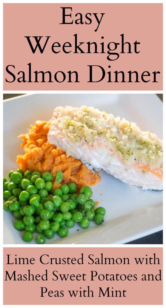 Featured Recipe // Lime Crusted Salmon with Mashed Sweet Potatoes and Peas with Mint from Sew You Think You Can Cook