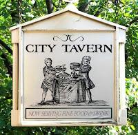 Cartel de la City Tavern lugar de encuentro de los delegados del Segundo Congreso Continental.