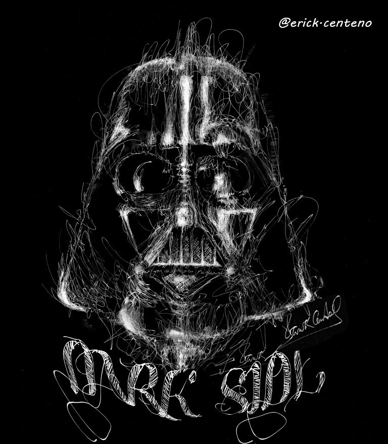 07-Darth-Vader-Star-Wars-Erick-Centeno-Superheroes-Celebrities-and-Cartoons-Scribble-Drawings-www-designstack-co