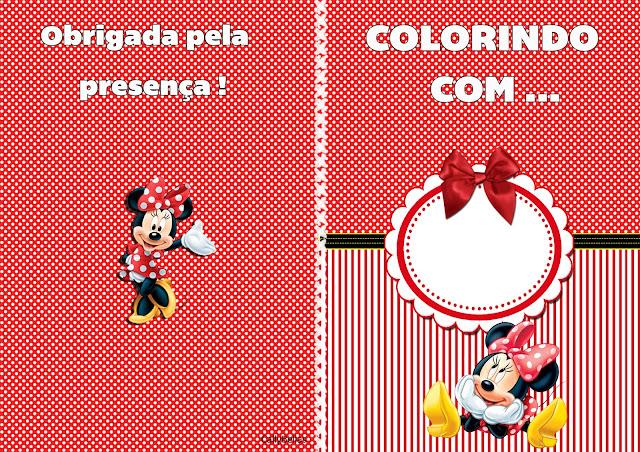 Imprimible carátula de libro para colorear de Minnie en Rayas Rojas.