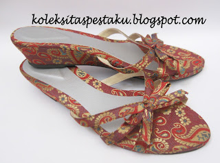 Sandal Sepatu Pesta Model Wedges Sari India Siap Dipakai Acara Pernikahan