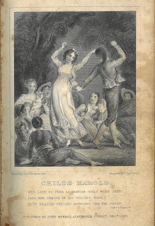 Image of engraving of a young couple dancing outdoors with a throng of lounging onlookers